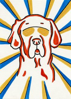 Great Dane colorful miniature art ACEO by ClarityArtDesign on Etsy