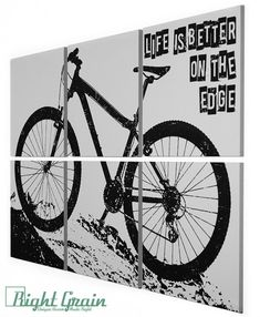 Mountain Bike Art Black Linocut Relief Print Bike Art Block