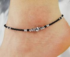 Anklet, Ankle Bracelet Metallic Silver Beaded Crystal Donut, Jet Black, Customizable, Vacation, Beach, Cruise Minimalist Anklet Black Anklet