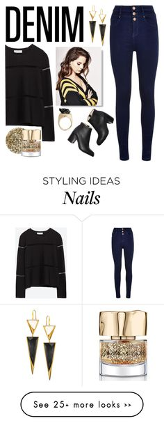 """Rock It! High-Waisted Skinny Jeans"" by squalada on Polyvore featuring Zara, Paul Andrew, Lana, Smith & Cult and falldenimtrend"