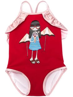 Red ruffle trim swimsuit from LITTLE MARC JACOBS featuring back criss cross straps, a square neck, a print to the front, a contrast piped trim and a scoop back. Little Marc Jacobs, Red Swimsuit, New Kids, Ruffle Trim, Baby Design, Girl Outfits, Swimsuits, Small Things, Baby Girls