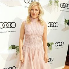 Ellie Goulding wearing Bora Aksu AW16-17  Pink lace dress at Audi Polo Challenge on 29 th May 2016