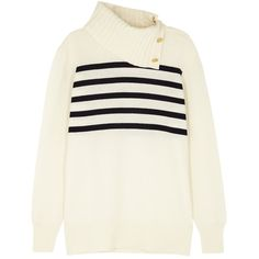 Tory Burch Sandra Striped Cashmere Jumper (9,785 MXN) ❤ liked on Polyvore featuring tops, sweaters, stripe sweaters, intarsia sweaters, white sweater, rollneck sweaters and roll neck sweater