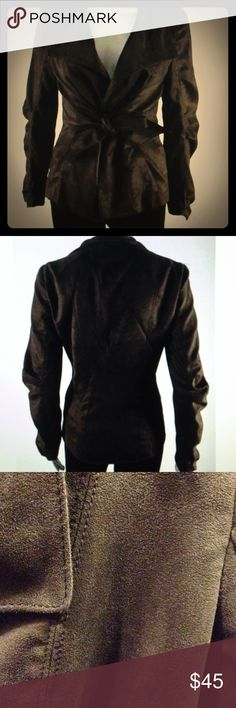 Zara basic ultra suede tie front blazer jacket Chocolate brown, supersoft Ultrasuede in a flattering chic cut. Draped fold over collar, two front pockets, lined, size small= bust 35 inches length 23 inches Zara Jackets & Coats