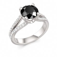 Black Diamond Engagement Ring with Diamonds in by ColorsofEdenShop, $1,758.00