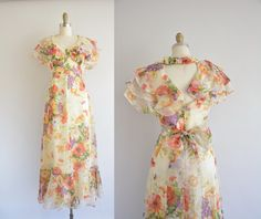 floral chiffon fluttery dress  vintage 1970s by simplicityisbliss