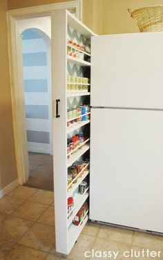 DIY Hidden storage: canned food storage cabinet. This amazing photo collections about DIY Hidden storage: canned food storage cabinet is available to Food Storage Cabinet, Canned Food Storage, Fridge Storage, Cabinet Space, Cabinet Ideas, Storage Room, Bathroom Storage, Bathroom Shelves, Cabinet Design
