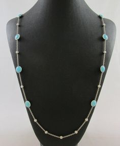 "IPPOLITA ROCK CANDY STERLING SILVER TURQUOISE & HAMMERED BEADS 39"" NECKLACE #Ippolita"