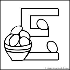 Free Printable Letter E Egg coloring p\\ages for Kids
