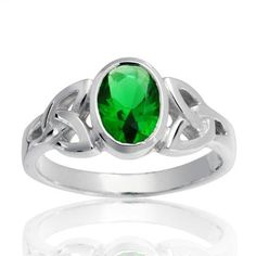 Friendship BFF Triquetra Celtic Knot Promise Ring For Women Oval Green Simulated Emerald Blue Sapphire Sterling Silver Celtic Knot Ring, Celtic Knots, Celtic Engagement Rings, Sapphire Color, Discount Jewelry, Blue Rings, Bling Jewelry, Jewellery, Diamond Jewelry
