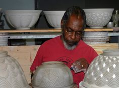 David MacDonald -Ceramics Artist, best known for African influenced surface imagery on his pieces. Ceramic Figures, Ceramic Artists, Ceramic Pottery, Pottery Art, Pottery Ideas, David Mcdonald, African American Artist, African Art, Native American