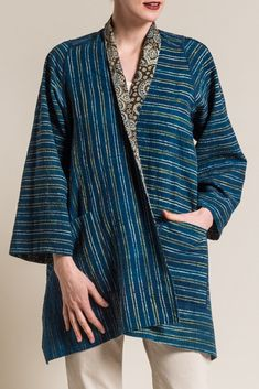 Mieko Mintz Ajrakh Print A-Line Jacket in Brown/Blue Look Fashion, Korean Fashion, Fashion Outfits, Fashion Design, Mode Batik, Fashion Tips For Women, Womens Fashion, Petite Fashion, Sewing Clothes