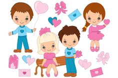 Vector St. Valentines Day Kids Set by Tanita_B on @creativemarket