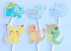 Cupcake Toppers -Pokemon, Pokemon Go,Pokemon Party Decoration, Pokemon Party,Pokemon Theme Baby Shower,Pikachu,Squirtle,Bulbasaur, Version 1