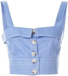 Blue linen buttoned crop top from SUBOO featuring a square neck, a sleeveless design, stitching details, a fitted silhouette and a cropped length. Cropped Tops, Look Fashion, Fashion Outfits, Womens Fashion, Fashion Design, Hollister Tops, Crop Top Outfits, Cute Outfits, Tank Top Damen