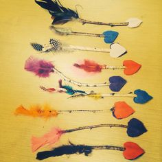 Kids Valentines Day Crafts felt, sticks, feathers, colored wire! Fun easy craft!