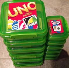 Dollar store containers provide a wonderful solution for keeping decks of cards intact.