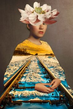 A train nowhere drives it after. Collage 2013 Waldemar Strempler A train nowhere drives it after. Collage Foto, Collage Kunst, Art Pop, Mixed Media Photography, Art Photography, Photomontage, Collages D'images, Photo Collages, Inspiration Artistique