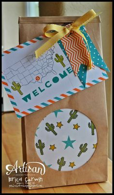Stampin' Up! Welcome to Texas gift bag made using the Photopolymer stamp set called Map It Out (134620)