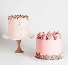 ѕwєєt trєαtѕ I hate sprinkles but these are so cute sprinkles, cakes, pastel, pink, rainbow sprinkles Pretty Cakes, Cute Cakes, Beautiful Cakes, Amazing Cakes, Mini Cakes, Cupcake Cakes, Food Cakes, Pink Birthday Cakes, Buttercream Cake