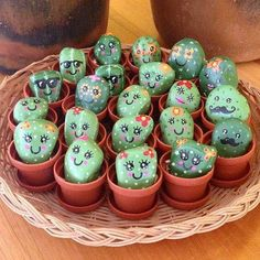 painted rocks that look like succulents & cacti - Painted rocks acrylic - Cactus rock painting ideas – adorable cactus stones in little pots You are in the right place abou - Mini Cactus, Cactus Rock, Painted Rock Cactus, Painted Rocks, Small Cactus, Cactus Flower, Flower Bookey, Painted Garden Rocks, Flower Film