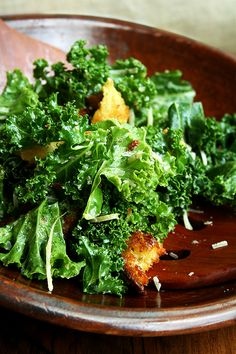 Addictive Kale Caesar Salad with Brioche Croutons