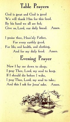 Table Prayer & Evening Prayer.                       Bible Helps for Little Children, Copyright 1934