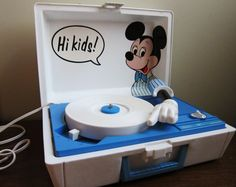 I think I pinned this before.  My sis and I had one just like this.  I saw one in an antique store once, but it was gone when I went back.  mickey mouse record player - Google Search