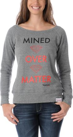 """The Mined Over Matter girls crew neck sweatshirt from Diamond Supply Co will give off a shine that can't be ignored. The custom Diamond Supply front graphic shows two diamond logos with the words """"Mined Over Matter"""" written across it in black and neon red Diamond Clothing, Best Streetwear Brands, Crew Neck Sweatshirt, Graphic Sweatshirt, Urban Fashion Women, Diamond Supply Co, Full Zip Hoodie, Hoodies, Sweatshirts"""