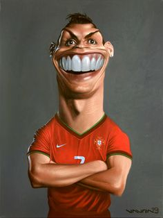 cristiano ronaldo caricature Caricature Artist, Caricature Drawing, Funny Caricatures, Celebrity Caricatures, Cartoon Jokes, Cartoon Art, Comic Face, Black And White Cartoon, Spitting Image
