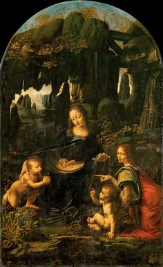 The Madonna of the Rocks, (refers to two painting of similar design, the one pinned is the louvre version) painted by Da Vinci from 1483-1486, is 199cm x 122cm, oil on wood panel. It was a commission work commissioned by Prior Bartolomeo Scorlione on April 25th, 1483, although his letter to Da Vinci and the other 2 participants was not clear on who was to do what. it depicts the virgin Mary, the Christ child and john the Baptist, as the altar piece for The Chapel of the Immaculate Conception