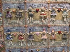 """This quilt called """"With You"""" by Tomoko Kamata, had block after block of these little people in all kinds of poses."""
