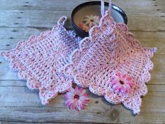 Cotton Potholder, Crochet Potholder, Pink Potholder Set, Hot Pad, Double Thick, Cotton Crochet, Handmade Potholder, Gift Ideas Ready to Ship by CraftCreationsbyRose on Etsy