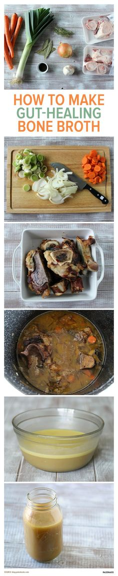 Looking for a savory bone broth recipe? Look no further: this bone broth recipe is the only one you will ever need. The recipe packs a thick gelatinous broth filled with minerals and healing properties that many cultures have believed in for thousands of Paleo Recipes, Soup Recipes, Cooking Recipes, Simple Recipes, Beef Bone Broth, Bone Soup, Soup Broth, Menu Dieta, Slow Cooking