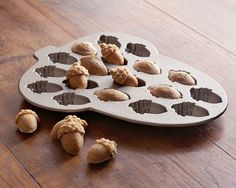 We bought the Acorn Cakelet Pan from Williams-Sonoma before our Fall Wedding and made up a ton of these acorns in multiple flavors for our guests to snack on.  HUGE HIT!