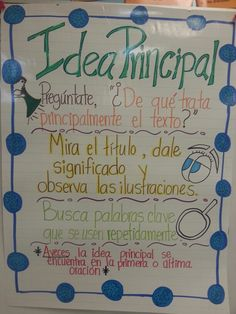 Idea Principal (main idea in Spanish) Más Dual Language Classroom, Bilingual Classroom, Bilingual Education, Spanish Classroom, Teaching Spanish, Spanish Activities, Teaching French, Education English, Spanish Anchor Charts