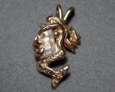 14k Yellow Gold Mermaid Pendant with Crystal 2.3 grams OOAK Vintage