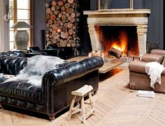 Leather chesterfield with fur throw. Leather Chesterfield, Chesterfield Chair, Leather Sofa, Beige Throws, Alpine Lodge, Chalet Chic, Masculine Interior, Beige Sofa, Amazing Spaces
