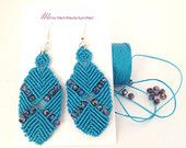 Earrings hand-woven with crystals Poseidon turquoise blue handmade in Italy