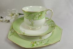 """Vintage Paragon """" Lily of the Valley"""" Teacup, Saucer , Plate , Handfinished Detail"""