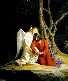 Jesús, angustiado sabiendo lo que le harían los romanos, oraba en el Huerto, sintiéndose muy mal.  Sus amigos se habían quedado dormidos por el cansancio y ninguno veló para acompañarlo.  Estaba solo.   Aquí un Ángel  lo avcompaña y consuela.  Consolemos a Nuestro Señor en ese momento que vivió de gran angustia y dolor emocional, cuando recemos el misterio correspondiente a la Oración en el Huerto, en los misterios dolorosos del Santo Rosario:Recordamos también el lado humano de Jesús.