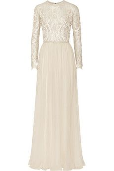 Elie Saab Embroidered lace and silk-blend georgette gown | NET-A-PORTER