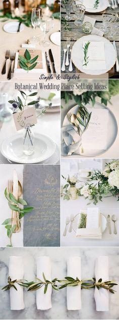 simple stylish botanical wedding place setting ideas