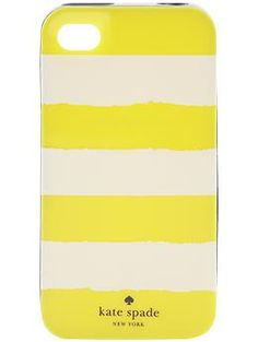 yellow and white striped kate spade iphone case. super cute for summer!