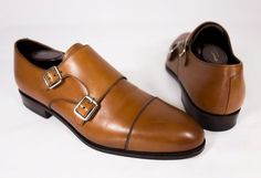 CARMINA Mens Double Monk Brown Calfskin Shoes 7 10003 Leather Dress Simpson Last…