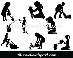 Gardening silhouette vector graphics pack - Silhouette Clip Art
