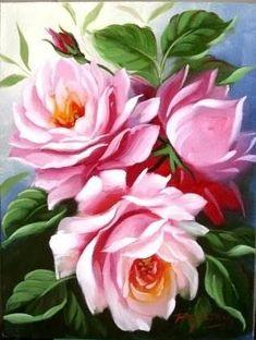Resultado de imagem para quadros pintados de flores azuis