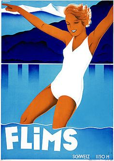 This vintage travel poster is for the Flims resort in Switzerland. The lady in a white bathing suite is swimming in Lake Cauma. Illustrated by Johannes Handschin, Poster Vintage, Vintage Travel Posters, Most Famous Artists, Tourism Poster, Boston Public Library, Thing 1, Art Graphique, Travel And Tourism, Travel Ad