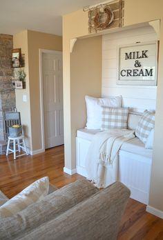 Cozy Farmhouse Reading Nook in small living room space. Farmhouse decor ideas!