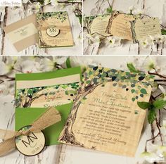 Wedding invitations printed on thin piece of wood with natural grain. So pretty for an outdoor/garden wedding.